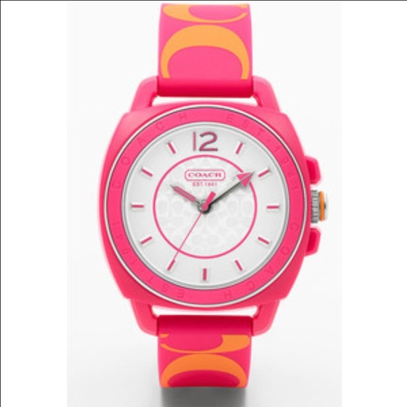 Pink & orange Coach Boyfriend silicon watch